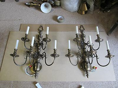2-28X14 Solid Brass 5L Weiss Biheller Sconces Dk Bronze Fine Cond All Parts Rare