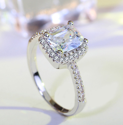 2.0 Ct Womens Engagement Promise RING EMERALD CUT Halo Sterling Silver Size 4-9