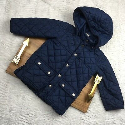 H&M Quilted Coat Hooded Long Sleeve Navy Blue Winter US 1.5y-2y 18m 24m 2T