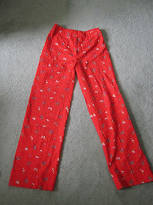Vtg 70's Red Seersucker Cotton Floral Print Indie Rockabilly Festival Pants S
