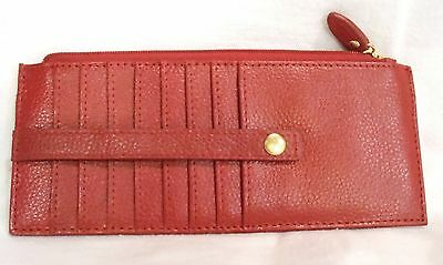 Lodis Red Leather Credit Card Slim Case Stacker Skinny Wallet NEW