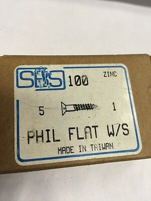 Vintage SHS  #5 X 1 Inch FLAT Head Steel Phillips Wood Screws 100 per box-ZINC