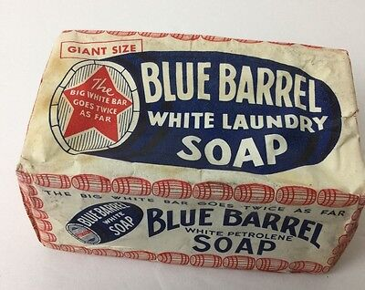 Vintage Giant Size Purex Blue Barrel All Purpose White Petrolene Laundry Soap