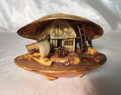 RARE Antique Netsuke Style Celluloid Clam Shell Diorama Water Mill WORKS JAPAN