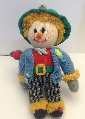 Hand Knitted Doll Scarecrow Autumn Fall Handmade  15 Inches Tall