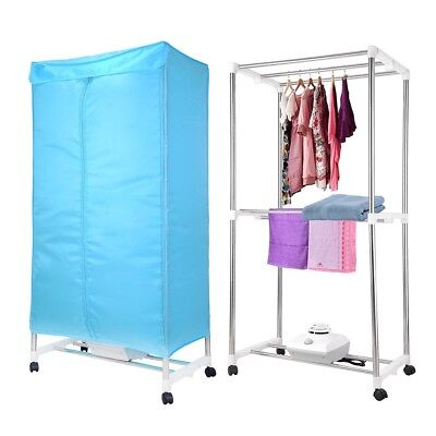 Electric Clothes Dryer Rack 1000W Heater Wardrobe Drying Rack w/ Casters Home