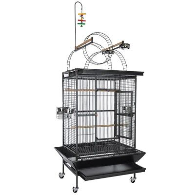 Large Parrot Bird Flight Finch Cage Macaws Pet Supply Aviary House Toy Black