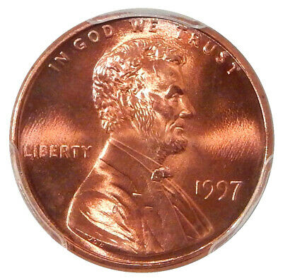 1997 DBL EAR 1c PCGS MS-68 RED FS-101 ~ POP 1 LINCOLN CENT VARIETY!