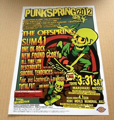 2012 Punkspring JAPAN festival concert flyer mini poster #2 The Offspring Sum 41