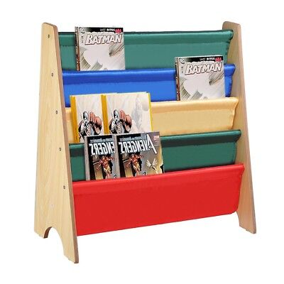 Wood Kids Sling Book Shelf Storage Rack 4 Pocket Bookcase Display Holder Natural