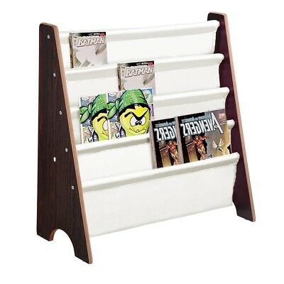 Wood Kids Sling Book Shelf Storage Rack 4 Pockets Bookcase Display Holder Walnut