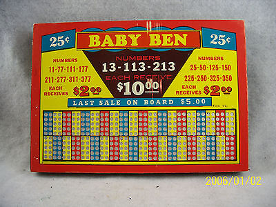 "Punch Board ""Baby Ben"" Unpunched vintage"