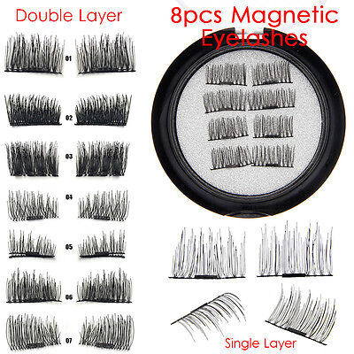 8 Pcs 3D Magnetic False Eyelashes Natural Eye Lashes Extension Handmade