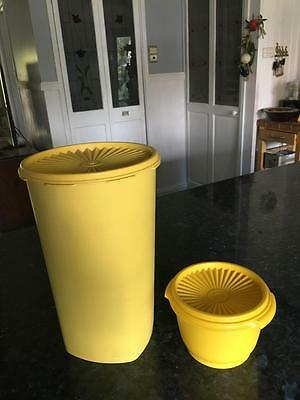 Vintage Tupperware Canisters - Yellow - Press Seal.- Two - Fabulous