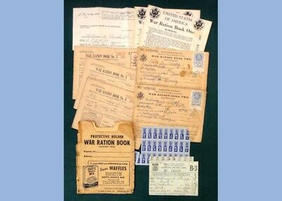 LOT vintage WWII RATION BOOKS,GASOLINE RATION CARD,MAILER,DUFF'S WAFFLE AD shupp
