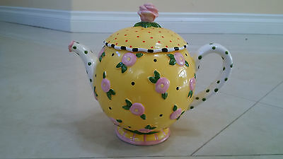 Mary Engelbreit Teapot Rhapsody Large Yellow Polka Dot Floral Pink Rose Top1997
