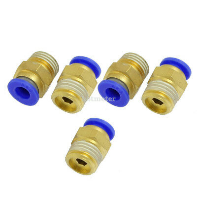 "H● 5 Pcs Air Pneumatic 1/4"" PT Diameter 6mm Hole Brass Quick Connector"