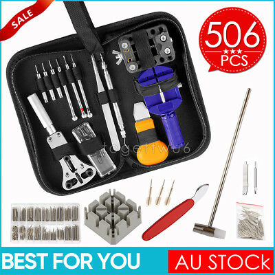 506Pcs Watch Repair Tool Kit Watchmaker Back Case Opener Remover Spring Pin Bars