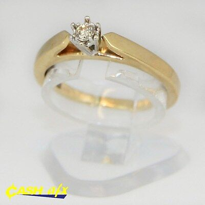 9ct Two Toned Yellow and White Gold Ring with a 0.05 Carat Diamond Size K