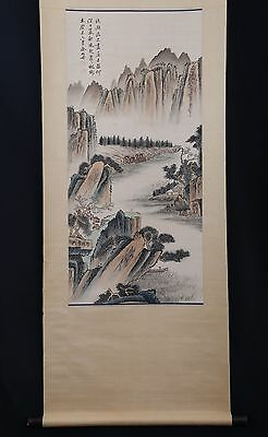 Large Rare Chinese Scroll Hand Painting Landscape Collection YuJi Marks PP631