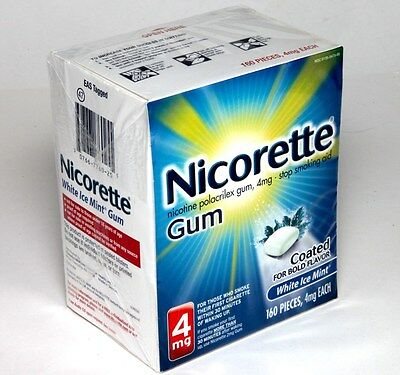 Nicorette Nicotine Polacrilex Gum 4mg Stop Smoking Aid 160 P White ICE Mint 2019
