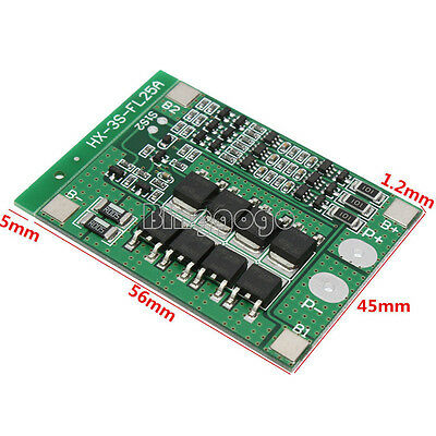 3S 11.1V 12.6V Li-ion Lithium Cell 25A 18650 Battery Protection BMS PCB Board