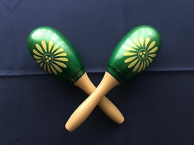 "Hand Painted Green Plastic Oval Shaped 9"" L Maracas ~ 1 Pair"