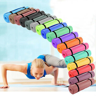 YOGA MAT EXERCISE FITNESS AEROBIC GYM PILATES CAMPING NON SLIP 15mm THICK