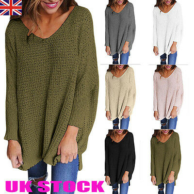 UK Womens V Neck Knitted Sweater Ladies Loose Casual Chunky Jumper Tops