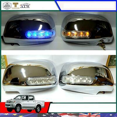CHROME L+R SIDE MIRROR INDICATOR COVER FOR TOYOTA HILUX REVO M70 M80 SR5 2015-ON