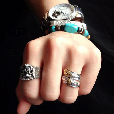 Couple Retro Native Pawn Indian Jewelry Navajo Signed Feather Open Ring Fitted