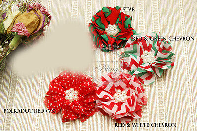 MIX PACK Selina fabric flower,Christmas DIY baby headband Embellishment sew