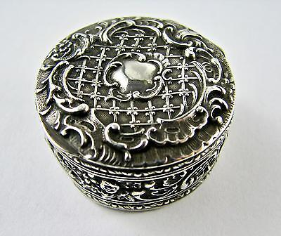 Antique French 19th Century Baroque Pill Box Snuff Continental 800 Silver