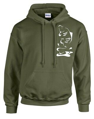 Fishing Clothing,  Olive Green Hoody,  Leaping Carp!  Small To 3Xl.