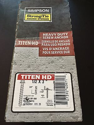 "New Box (25) Simpson Strong Tie Titen HD Concrete Screw Anchor 1/2x3"" THD50300H"