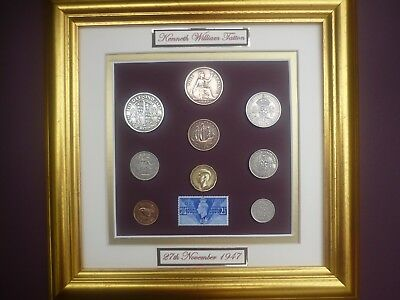 PERSONALISED FRAMED 1947 BRITISH OLD COINAGE SET 70th BIRTHDAY GIFT IN 2017