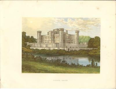 Stampa antica castello EASTNOR CASTLE Herefordshire 1880 Old Antique print