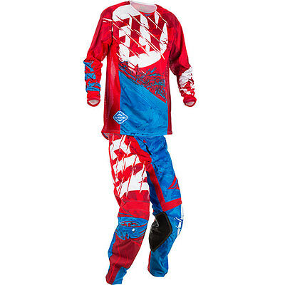 New Fly Racing Adult Mens Kinetic Outlaw Red White Blue Jersey + Pants Combo