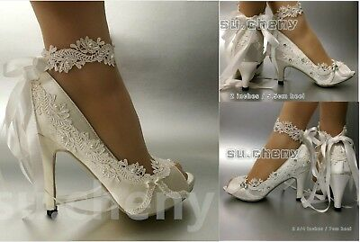 ce5b8e06182 SU.CHENY OPEN PEEP toe heel white ivory satin ribbon Wedding Bridal heels  shoes