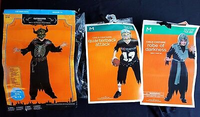 Lot Of 3 Kids Halloween Costumes Gatekeeper Quarterback Robe Darkness Medium 7-8