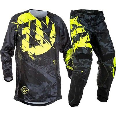 New Fly Racing Adult Mens Kinetic Outlaw Black Hi-Vis Jersey + Pants Combo
