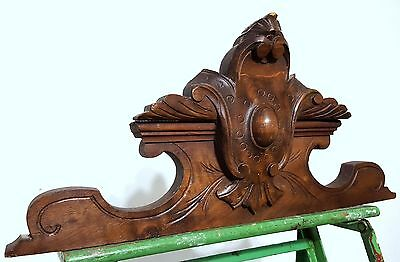 Carved Wood Pediment Antique French Coat Of Arms Architectural Salvage Panelling
