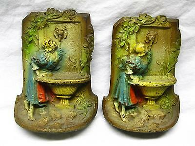 Antique Painted Cast Iron Bookends Girl At Fountain Urn Original Old Paint Vtg