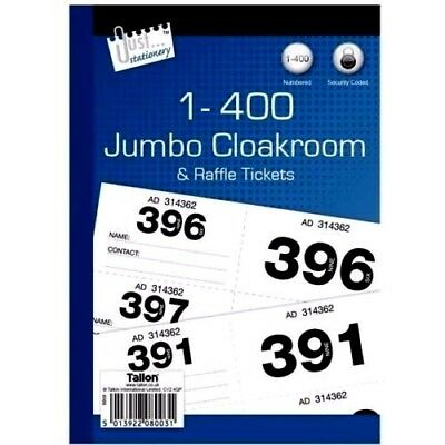 1 - 400 Jumbo Cloakroom & Raffle Tickets Tombola Numbered  Coded - WH2 - R4D-031