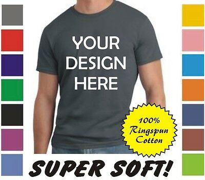 100 Custom Screen Printed (front & back) COLOR Ringspun Cotton T-Shirts
