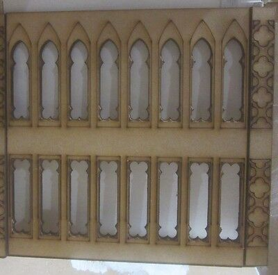"""Dolls House 12th scale Gothic Wall Panelling No4 plus1 upright 6"""" long MDF101-9H"""
