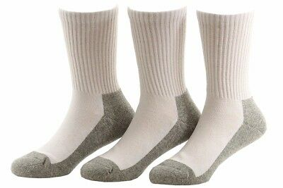 Stride Rite 3-Pairs White/Grey Comfort Seam Crew Socks Sz: 7-8.5 Fits Shoe 10-13