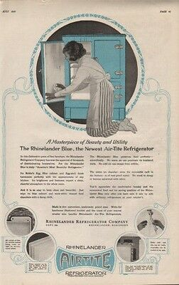 1920 Rhinelander Refrigerator Appliance Maid Air Tite Ice Box8594