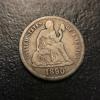 1890 S Liberty Seated Dime VF Very Fine Silver Type Coin 10c Better Date