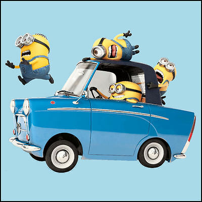 Despicable Me 3 Minions in car cut vinyl wall art sticker 29x21cm Matt Or Gloss